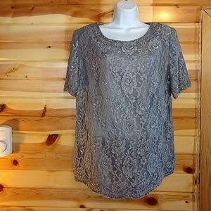 Candlelight & Champagne gray beaded top